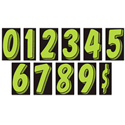 "7-1/2"" Fluorescent Green and Black - ALL NUMBERS"